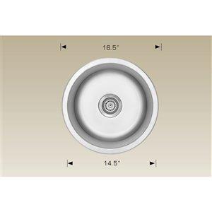 "American Imaginations Undermount Single Sink - 16.5"" x 16.5"" - Stainless Steel"