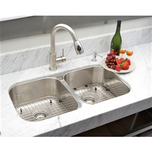 """American Imaginations Undermount Double Sink - 32.25"""" x 18.5"""" - Stainless Steel"""