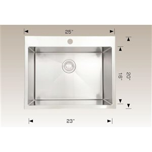 "American Imaginations Single Sink - 25"" x 20"" - Stainless Steel"