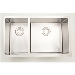 """American Imaginations Double Sink - 30"""" x 18"""" - Stainless Steel"""