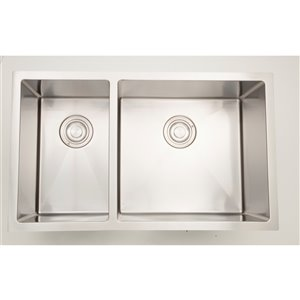 """American Imaginations Double Sink - 33"""" x 18"""" - Stainless Steel"""