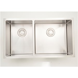"American Imaginations Double Sink - 33"" x 18"" - Stainless Steel - Chrome"