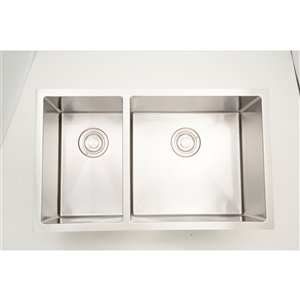 "American Imaginations Undermount Double Sink - 32"" - Stainless Steel - Chrome"