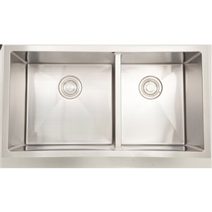 "American Imaginations Undermount Double Sink - 18"" - Chrome"
