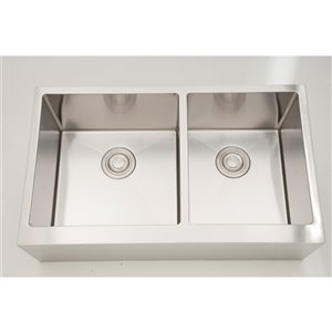 """American Imaginations Undermount Double Sink - 32"""" x 19"""" - Chrome"""