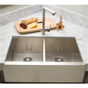 "American Imaginations Undermount Double Sink - 36"" x 19"" - Stainless Steel"