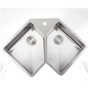 """American Imaginations Undermount Double Sink - 36.37"""" x 24.75"""" - Stainless Steel"""