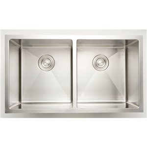 "American Imaginations Undermount Double Sink - 34"" x 18"" - Stainless Steel"