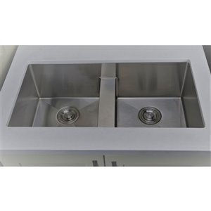"""American Imaginations Undermount Double Sink - 37"""" x 18"""" - Stainless Steel"""