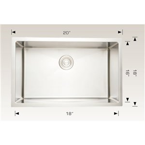 """American Imaginations Undermount Sink - 20"""" - Stainless Steel - Chrome"""
