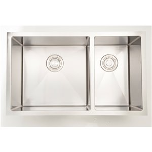 "American Imaginations Undermount Double Sink - 33"" x 18"" - Stainless Steel"