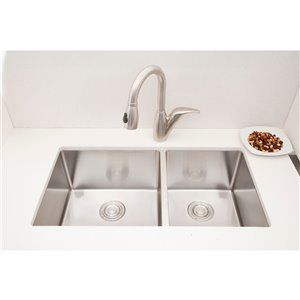 "American Imaginations Undermount Sink - Double - 18"" - Stainless Steel"