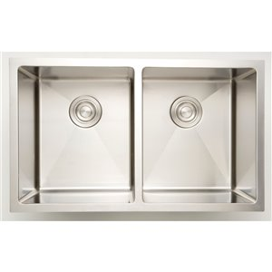 American Imaginations Double Sink - 33-in x 18-in - Chrome
