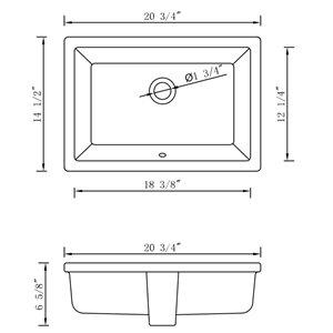 "American Imaginations Undermount Sink - 20.75"" - Rectangular - White"