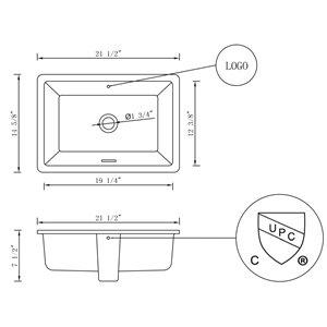 "American Imaginations Undermount Sink - 21.5"" - Rectangular - White"
