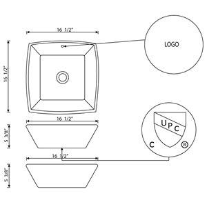 """American Imaginations Above Counter Vessel - 16.5"""" - Square - White"""
