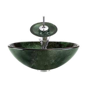 MR Direct Glass Vessel Sink w/ Waterfall Faucet Ensemble,629