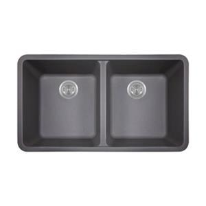 MR Direct TruGranite Double Equal Bowl Kitchen Sink,802-Silv