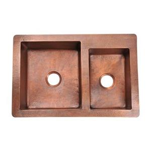 MR Direct Double Offset Bowl Copper Apron Sink,911