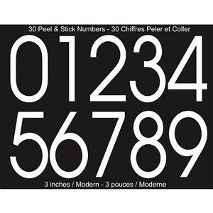 PRO-DF KVBM-3 Modern Self-Adhesive 3-in White Vinyl Numeral