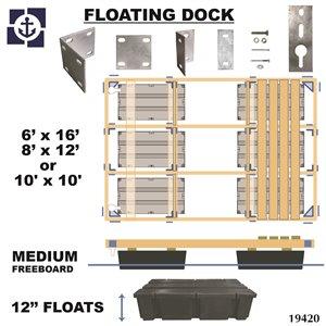 Multinautic 19420 Floating Medium Freeboard Hollow Wood Dock