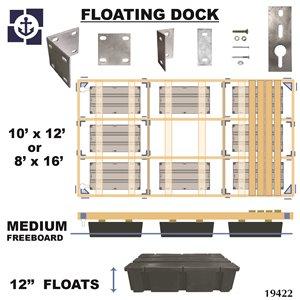 Multinautic 19422 Floating Medium Freeboard Hollow Wood Dock