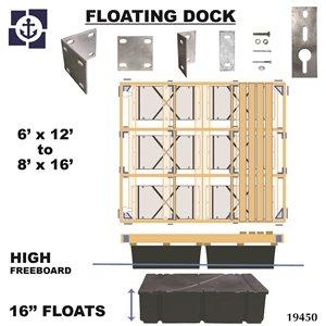 Multinautic 19450 Floating High Freeboard Hollow Wood Dock K