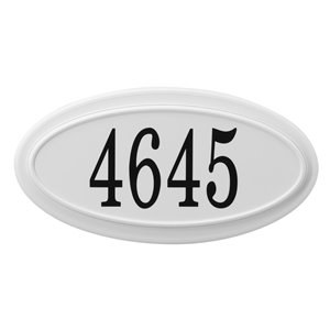 Classic Oval Address Plaque, White
