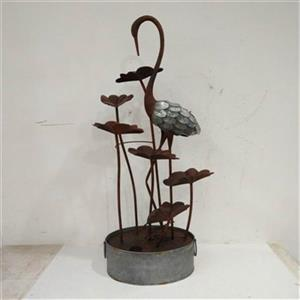Hi-Line Gift Crane with Leaves in a Pail Metal Fountain,7953