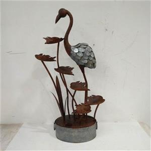 Hi-Line Gift Flamingo with Leaves in a Pail Metal Fountain,7