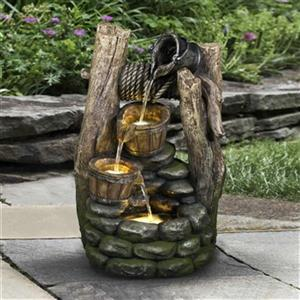 Hi-Line Gift Well Fountain with 2 Pouring Pails and 3 LED Li