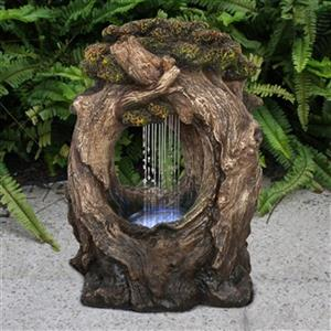 Hi-Line Gift Tree Trunk Rainfall Fountain with LED Lights,79