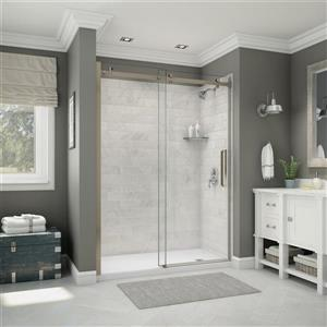 Utile Alcove Shower in Carrara Marble with Base - Door