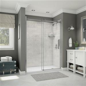 Utile Alcove Shower in Carrara Marble with Base and Door