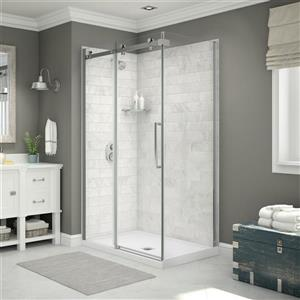Utile Corner Shower in Carrara Marble with Base and Door