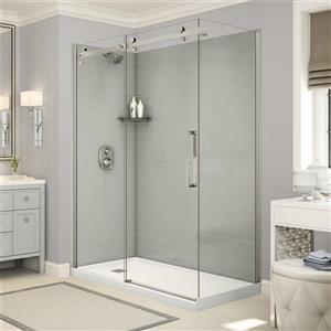 Utile Corner Shower in Metro Soft Grey with Base and Door