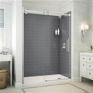 Utile Alcove Shower in Metro Thunder Grey with Base and Door