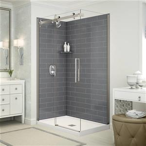 Utile Corner Shower in Metro Thunder Grey with Base and Door