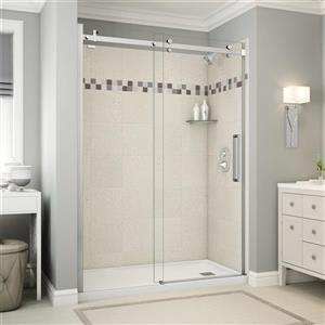 Utile Alcove Shower in Stone Sahara with Base and Door