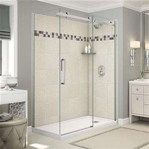 Utile Corner Shower in Stone Sahara with Base and Door