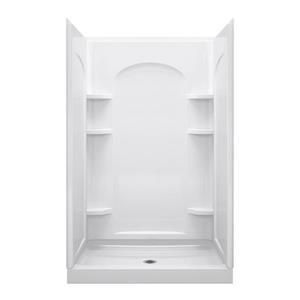 Ensemble 34-in x 48-in White Vikrell® Alcove Shower Kit
