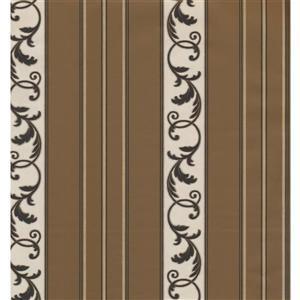 York Wallcoverings Stripes Modern Wallpaper - Cream/ Light Brown