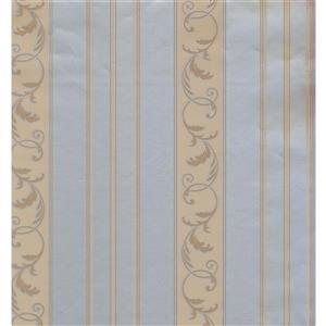 York Wallcoverings Stripes Modern Wallpaper - Beige/Blue