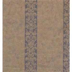 York Wallcoverings Stripes Modern Wallpaper - Beige/Blue