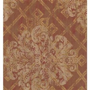 York Wallcoverings Paisley Modern Wallpaper - Cream/Bordo