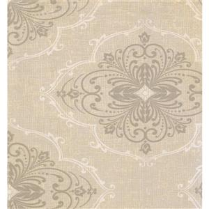 York Wallcoverings Paisley Modern Wallpaper - Cream/Grey
