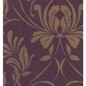 York Wallcoverings Paisley Modern Wallpaper - Beige/Violet
