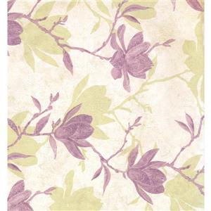 York Wallcoverings Floral Colourful Wallpaper - Cream/Violet