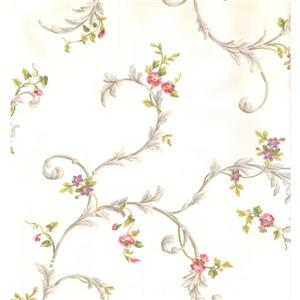York Wallcoverings Floral Colourful Wallpaper - Cream