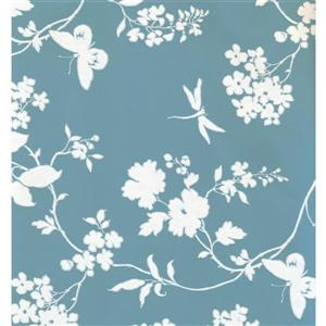 York Wallcoverings Floral Colourful Wallpaper - Cream/Blue